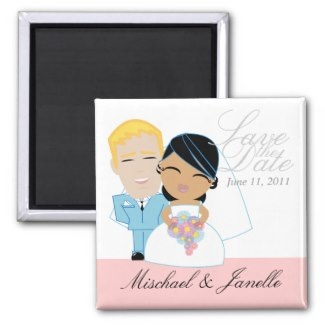 bride and groom wedding magnets