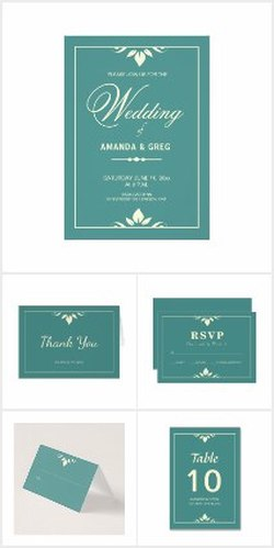 custom teal wedding invitations