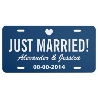 wedding license plates