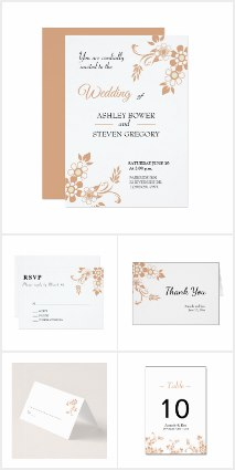 beige flower wedding design