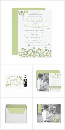 Light green leaf wedding invitations