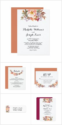 orange floral wedding invitations