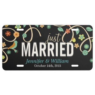 floral wedding license plates