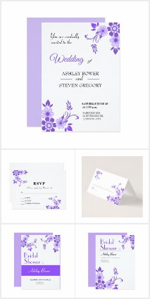 Ultra Violet Flower Wedding Invitations