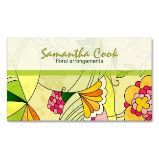 abstract flower business cards