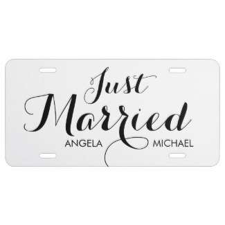 just married license plates