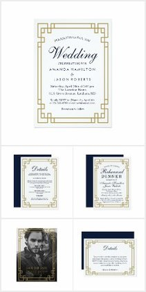 Gold and Blue Wedding Invites